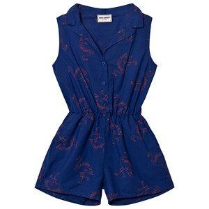 Bobo Choses Girls All in ones Blue Flamingos Tailor Romper Mazarine Blue