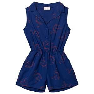 Image of Bobo Choses Girls All in ones Blue Flamingos Tailor Romper Mazarine Blue
