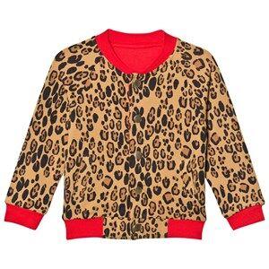 Mini Rodini Unisex Jumpers and knitwear Beige Leopard Reversible Sweat Jacket Beige