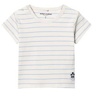 Mini Rodini Unisex Tops Blue Stripe Rib Tee Light Blue