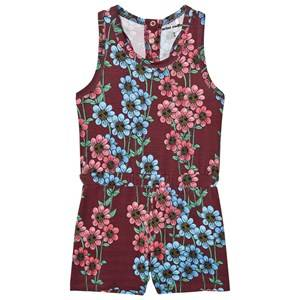 Mini Rodini Girls All in ones Red Daisy Romper Burgundy