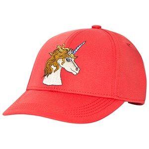 Mini Rodini Unisex Headwear Red Unicorn Embroidered Cap Red