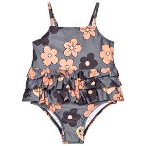 Mini Rodini Girls Swimwear and coverups Grey Flower Frill Swimsuit Grey