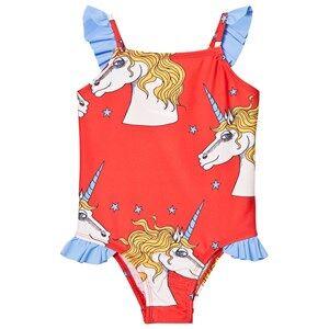 Mini Rodini Girls Swimwear and coverups Red Unicorn Star Wing Swimsuit Red