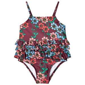 Image of Mini Rodini Girls Swimwear and coverups Red Daisy Frill Swimsuit Burgundy