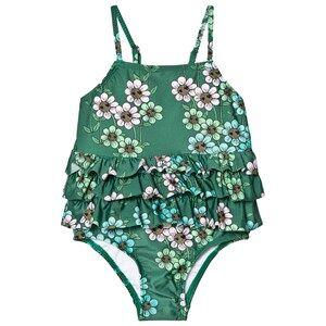 Image of Mini Rodini Girls Swimwear and coverups Green Daisy Frill Swimsuit Dark Green
