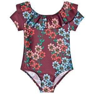 Mini Rodini Girls Swimwear and coverups Red Daisy Swimsuit Burgundy