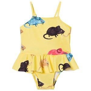 Image of Mini Rodini Girls Swimwear and coverups Yellow Mr Mouse Skirt Swimsuit Yellow