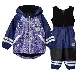 Lindberg Girls Clothing sets Purple Brastad Rain Set Flee Lilac
