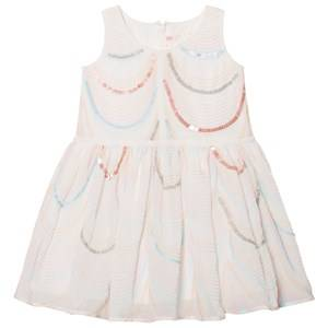 Image of Billieblush Girls Dresses White White Organza Sequin and Embroidered Dress