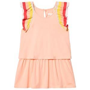 Image of Chloé Girls Dresses Orange Coral Rainbow Frill Sleeve Dress
