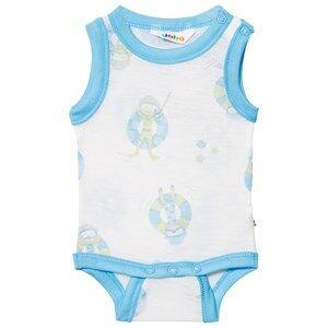Image of Joha Girls All in ones Blue Sleeveless Baby Body Blue Beach Life Print