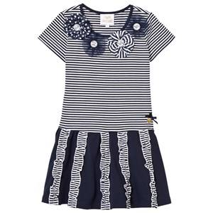 Image of Le Chic Girls Dresses Navy Navy and Stripe Jersey Dress with Rosettes, Diamantes and Ruffle Detail