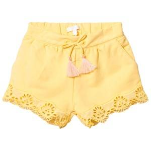 Image of Chloé Girls Shorts Yellow Yellow Broderie Anglaise Hem Shorts