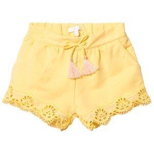 Chloé Girls Shorts Yellow Yellow Broderie Anglaise Hem Shorts