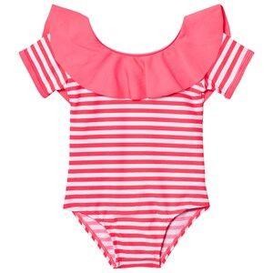 Image of Billieblush Girls Swimwear and coverups Pink Fuchsia Frill Collar Swimsuit