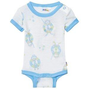 Image of Joha Girls All in ones Blue Short Sleeve Baby Body Blue Beach Life Print
