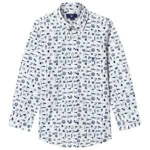 Gant Boys Tops White White Multi Flag Print Shirt