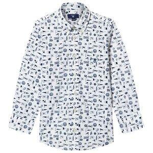 Gant Boys Tops White White Multi Flag Print Shirt