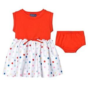 Image of Andy & Evan Girls Dresses Red Red Tee Dress with Spot Skirt
