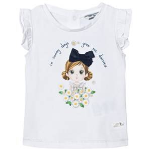 Mayoral Girls Tops White White Daisy and Girl Print Tee