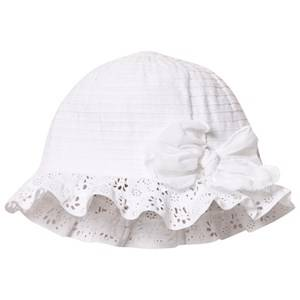 Image of Grevi Girls Headwear White White Tiered and Broderie Anglaise Sun Hat