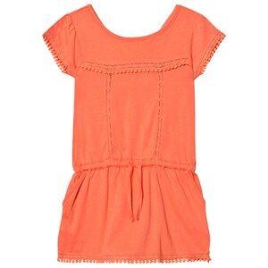 Image of Cyrillus Girls Dresses Orange Coral Pom Pom Drop Waist Jersey Dress