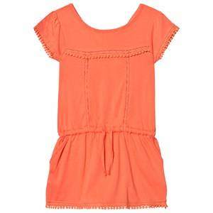 Image of Cyrillus Girls Dresses Orange Coral Pom Pom Drop Waist Jersey Dress