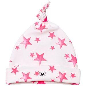 Livly Girls Headwear White Tossie Hat Hot Pink Stars