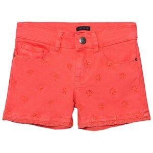 IKKS Girls Shorts Orange Coral Star Embroidered Denim Shorts