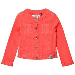 Image of IKKS Girls Coats and jackets Orange Coral Denim Jacket with Broiderie Anglais Detail