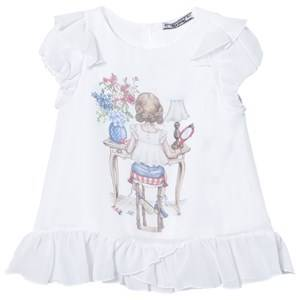 Mayoral Girls Tops White White Girl Print Frill Top