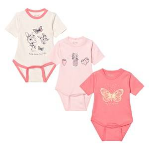 Image of Me Too Girls All in ones Pink Las 280 3-Pack Baby Body Strawberry Pink