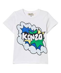 Kenzo Boys Tops White White Branded Tee