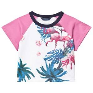 Guess Girls Tops Pink White Flamingo Floral Print Tee
