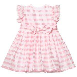 Image of Il Gufo Girls Dresses Pink Pink Stripe Silk Seersucker Frill and Bow Dress