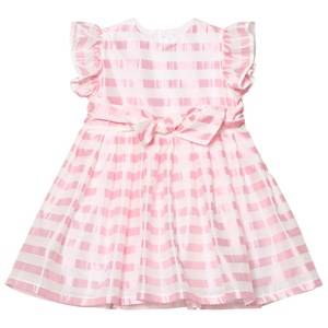 Image of Il Gufo Girls Dresses Pink Pink Stripe Silk Seersucker Frill and Bow Dress