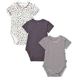 Hust&Claire; Boys All in ones Grey Baby Body 3-Pack Magnet