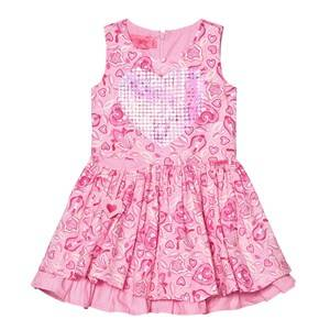 Image of Lelli Kelly Girls Dresses Pink Pink Floral Print Dress with Sequin Heart