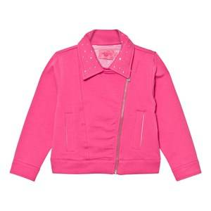 Image of Lelli Kelly Girls Coats and jackets Pink Pink Sweat Biker Jacket with Diamante Detail