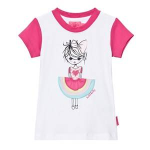 Image of Lelli Kelly Girls Tops White Pink and White Girl with Appliqe Skirt Tee