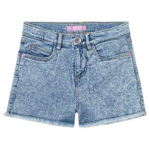 Guess Girls Shorts Blue Acid Wash Denim Shorts with Frayed Edge