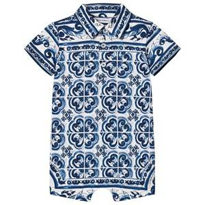 Image of Dolce & Gabbana Boys All in ones Blue Romper in Printed Cotton Jersey Blue