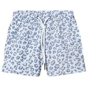 Livly Boys Swimwear and coverups White Swim Trunks Leo Print Blue