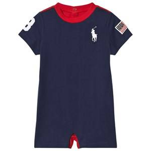Image of Ralph Lauren Boys All in ones Navy Navy Jersey Big Pony and USA Applique Romper