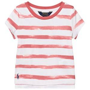 Image of Ralph Lauren Girls Tops Pink Striped Cotton Jersey Tee Pink and White
