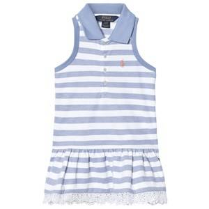 Image of Ralph Lauren Girls Dresses Blue Blue and White Sleeveless Pique Dress with Broderie Hem