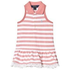 Image of Ralph Lauren Girls Dresses Striped Sleeveless Polo Dress Pink and White