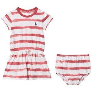Ralph Lauren Girls Dresses Pink Striped Tee Dress and Bloomer Berry Pink