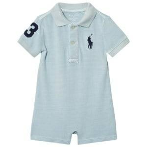 Ralph Lauren Boys All in ones Blue Cotton Mesh Polo Shortall Pale Blue